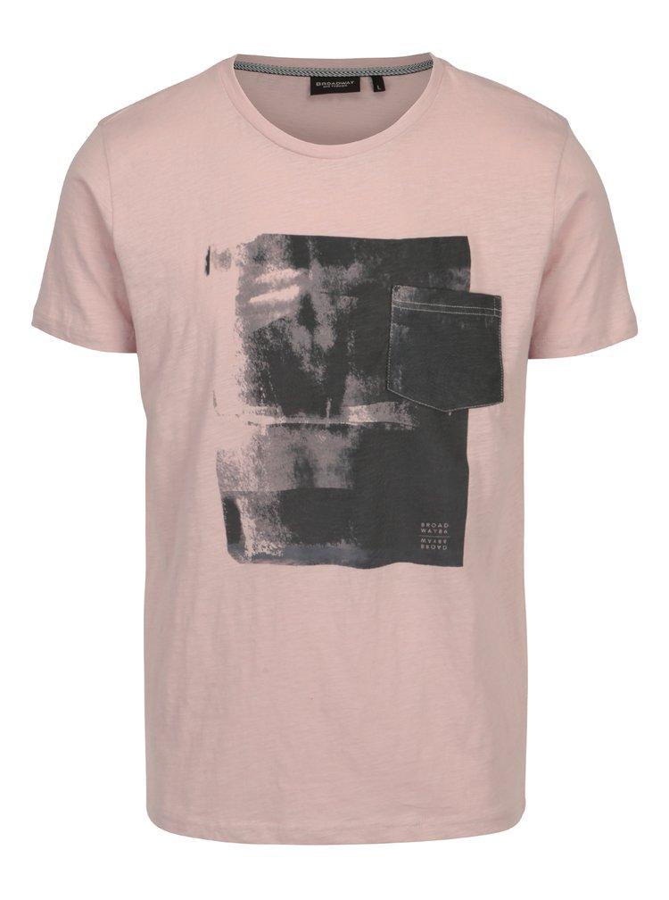 Starorůžové pánské tričko s potiskem Broadway Hince