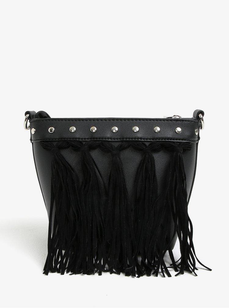 Černá crossbody kabelka s třásněmi Miss Selfridge