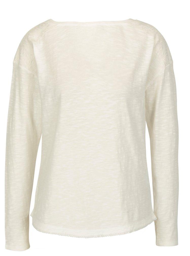 Krémové dámské oversize tričko s krajkovými detaily s.Oliver