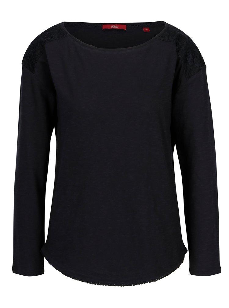 Tmavě modré dámské oversize tričko s krajkovými detaily s.Oliver