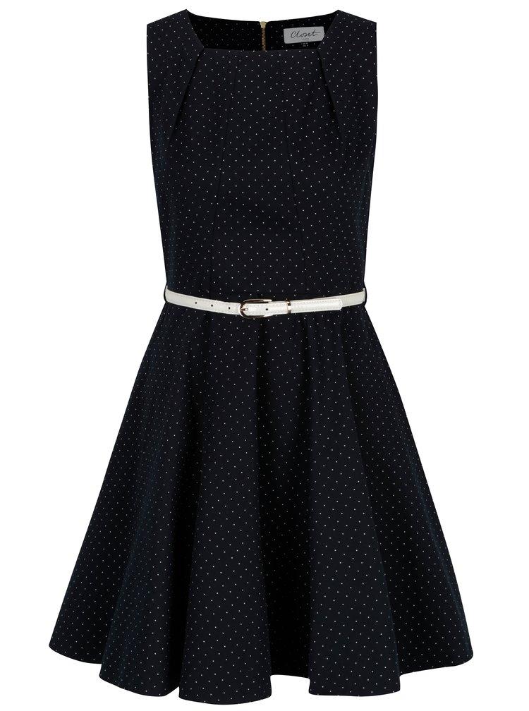 Tmavě modré puntíkované šaty s bílým páskem Closet