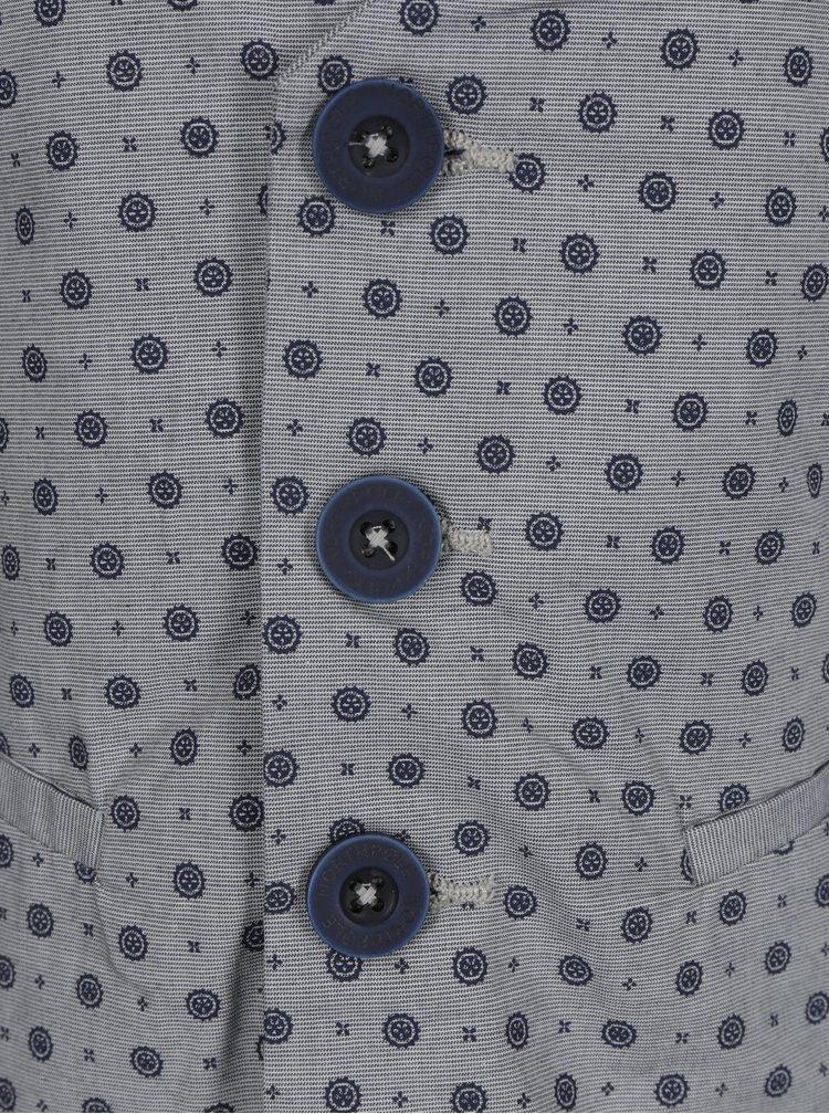 Modro-šedá vzorovaná klučičí vesta North Pole Kids