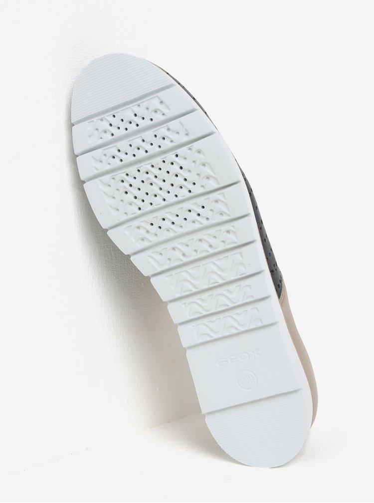 Pantofi bej cu bleumarin cu perforatii din piele pentru femei  Geox Kookean