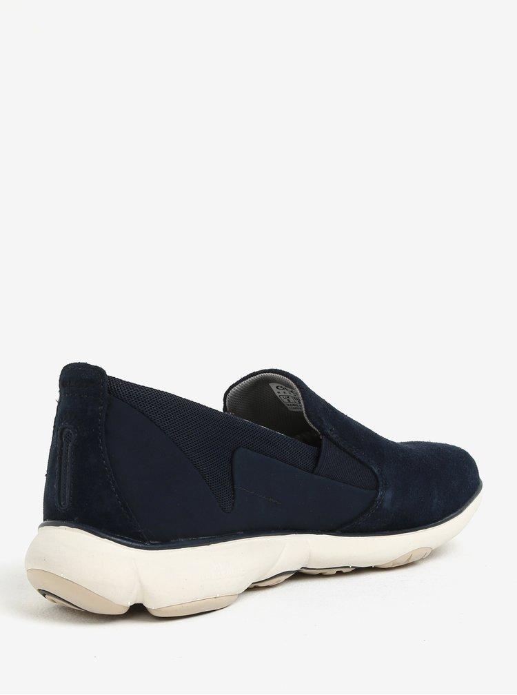 Pantofi slip on bleumarin din piele intorasa pentru barbati Geox Nebula