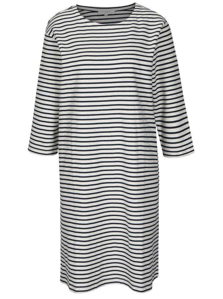 Modro-krémové pruhované šaty s 3/4 rukávem Selected Femme Ava