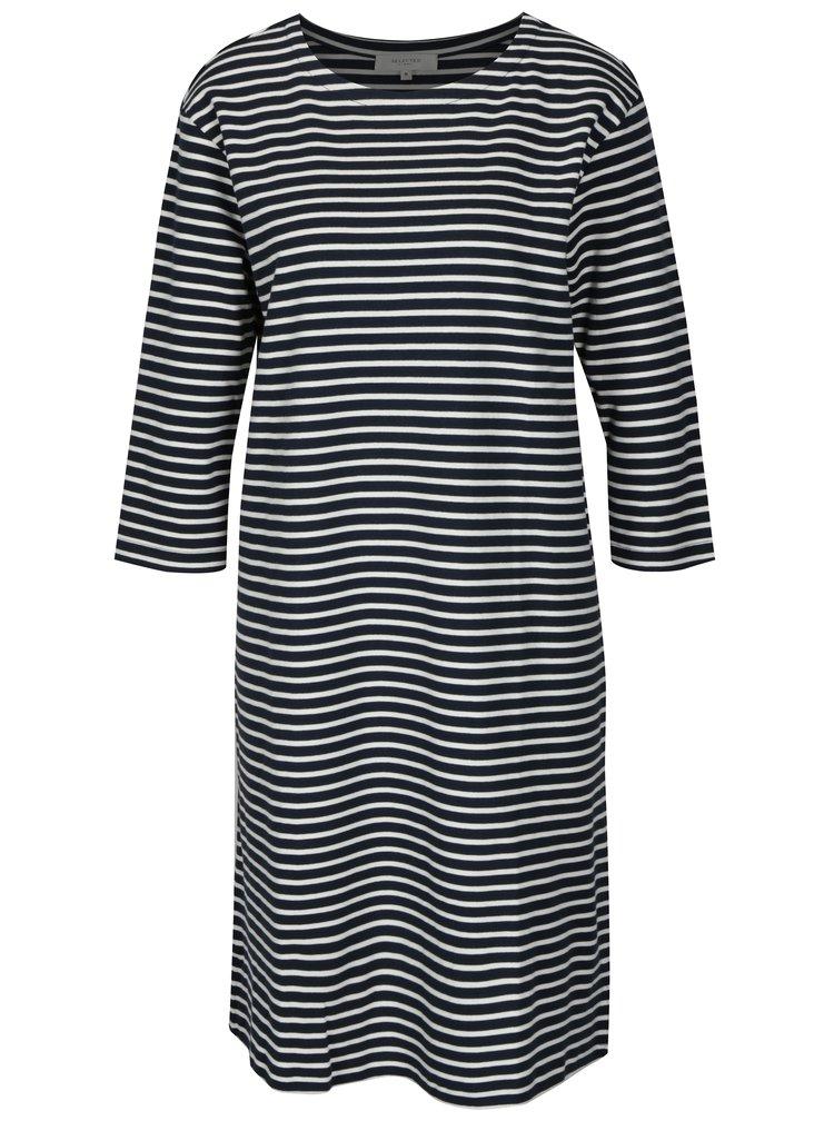Krémovo-modré pruhované šaty s 3/4 rukávem Selected Femme Ava