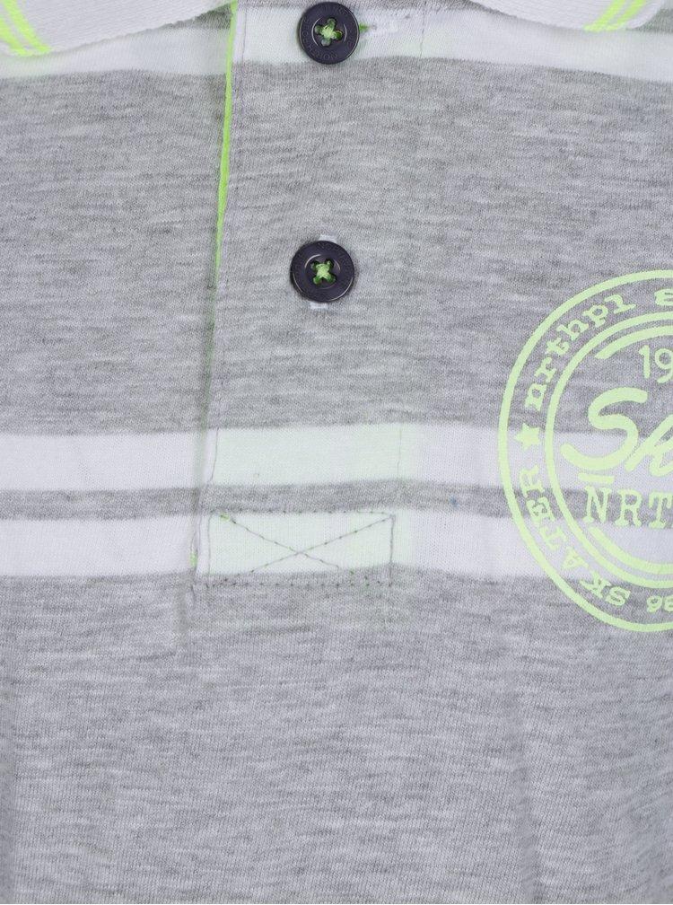 Šedé pruhované klučičí polo tričko s potiskem North Pole Kids