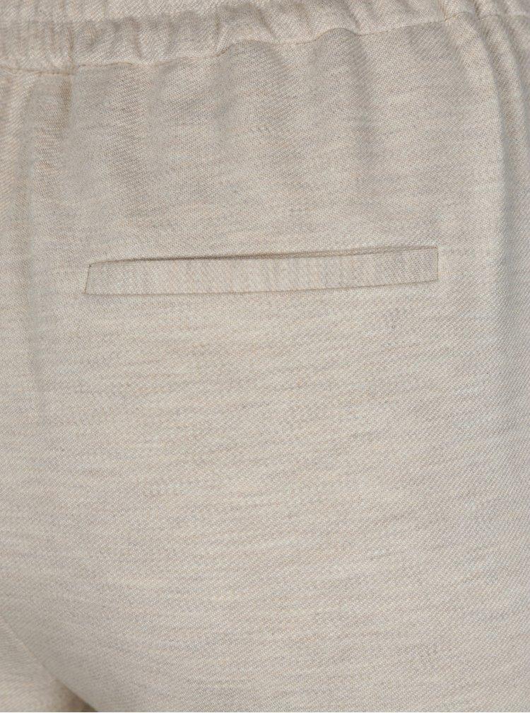 Béžové zkrácené kalhoty s vysokým sedem Selected Femme Sue