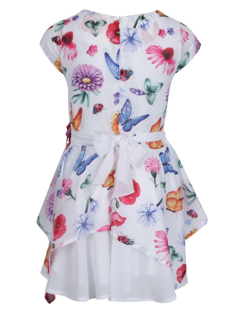 Bílé květované holčičí šaty s páskem North Pole Kids