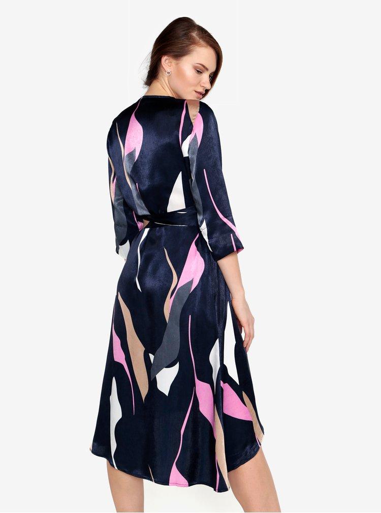 Tmavě modré vzorované zavinovací šaty VERO MODA Laksmi