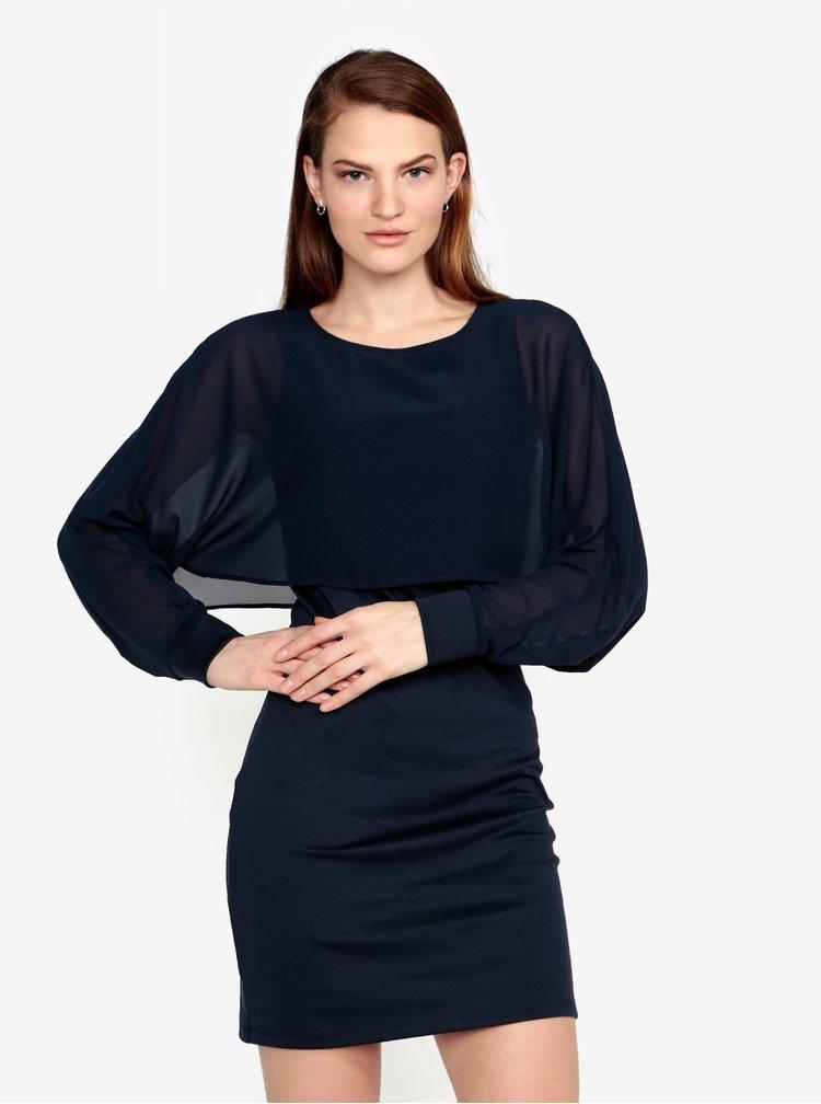 Tmavě modré šaty s průsvitným rukávem VERO MODA Ewa