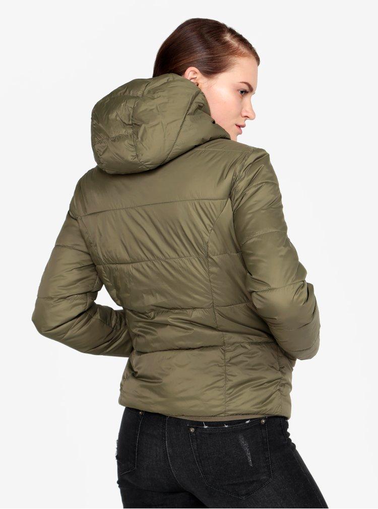 Khaki prošívaná bunda s kapucí Miss Selfridge