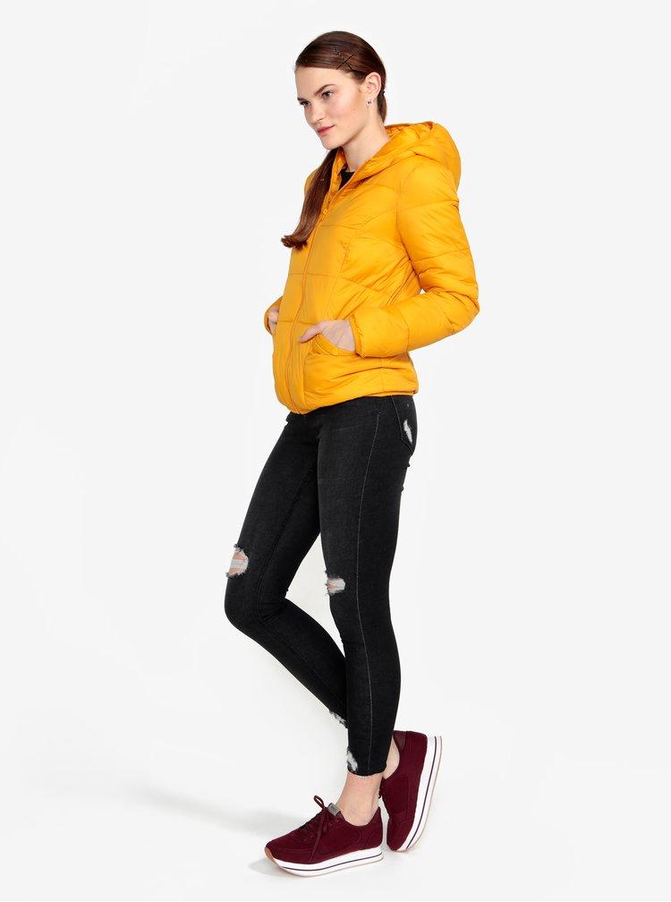 Hořčicová prošívaná bunda s kapucí Miss Selfridge