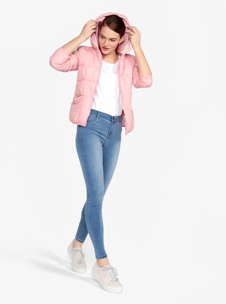 Světle růžová prošívaná bunda s kapucí Miss Selfridge