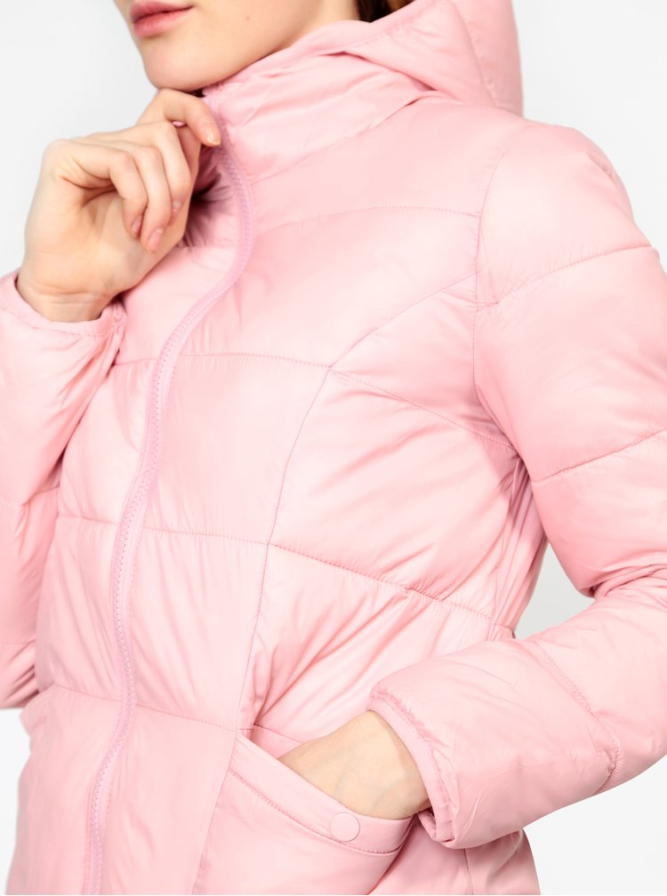 Geaca matlasata roz cu fermoar Miss Selfridge