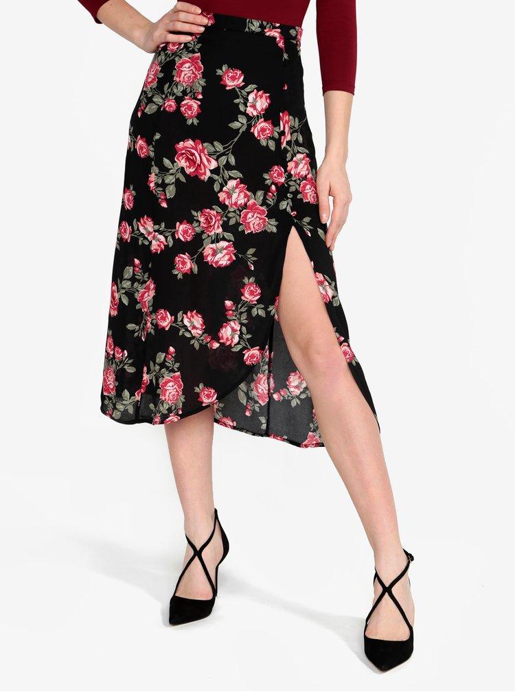 Černá květovaná průsvitná sukně s rozparkem Miss Selfridge