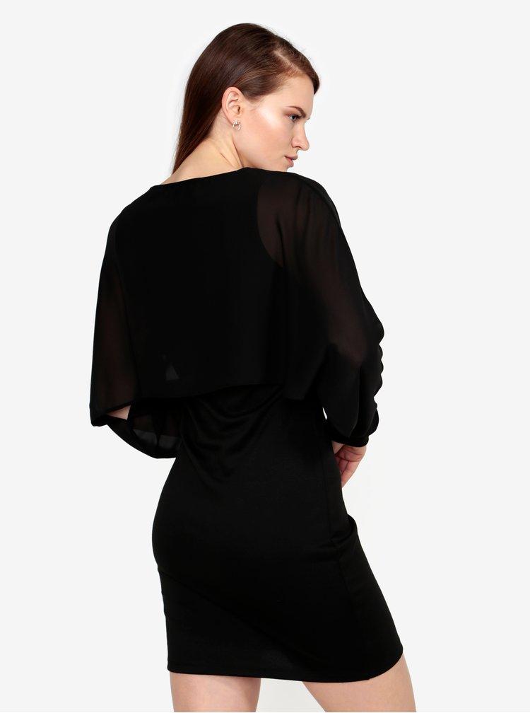 Černé šaty s průsvitným rukávem VERO MODA Ewa