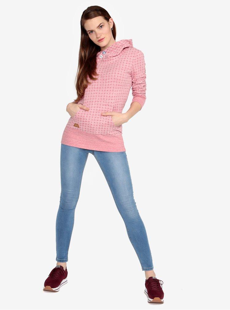 Růžová puntíkovaná žíhaná mikina Ragwear Chelsea Dots