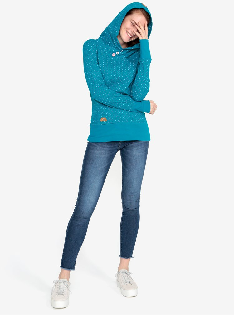 Hanorac turcoaz cu print - Ragwear Chelsea Dots