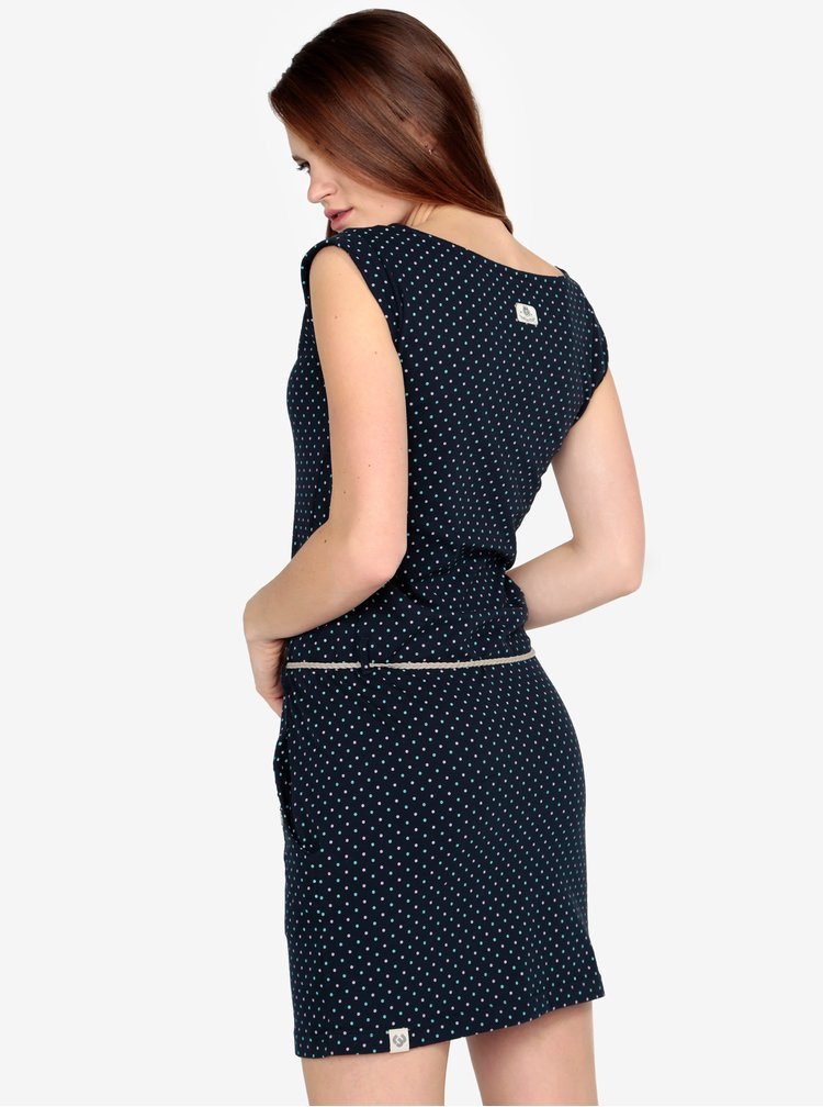 Rochie bleumarin cu siret in talie si print - Ragwear Tag Dots
