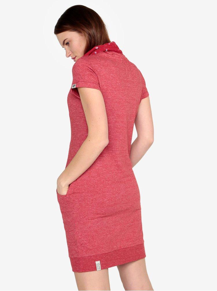 Červené žíhané šaty s vysokým límcem Ragwear Dita