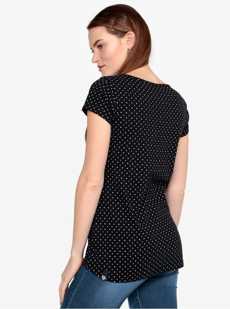 Tricou negru cu print - Ragwear Mint Dots