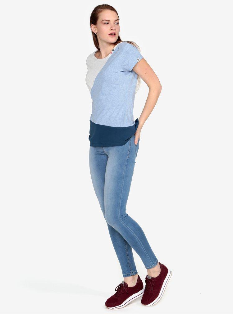 Modro-sivé melírované tričko Ragwear Mint Block