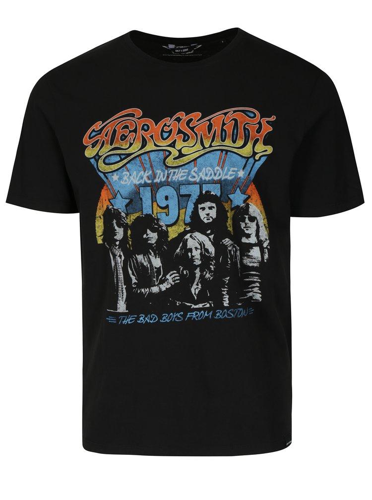 Tricou negru cu print rock ONLY & SONS Aerosmith