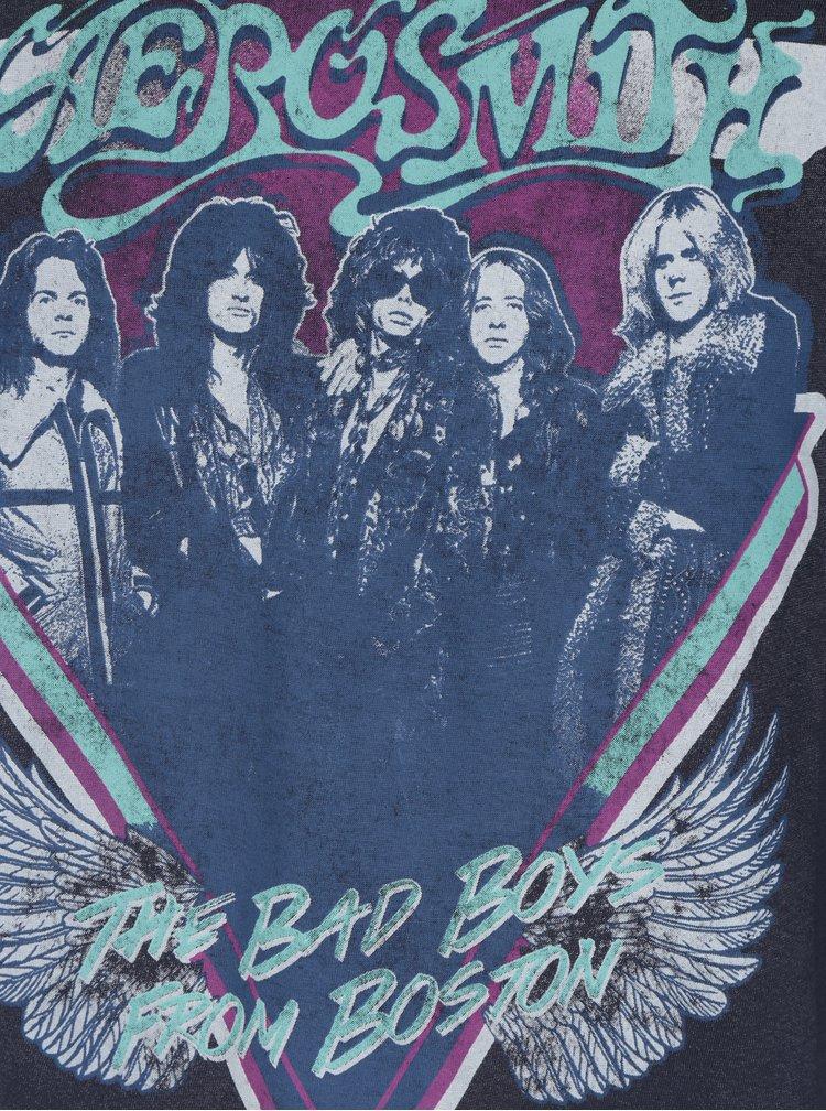 Tmavě modré tričko s potiskem ONLY & SONS Aerosmith