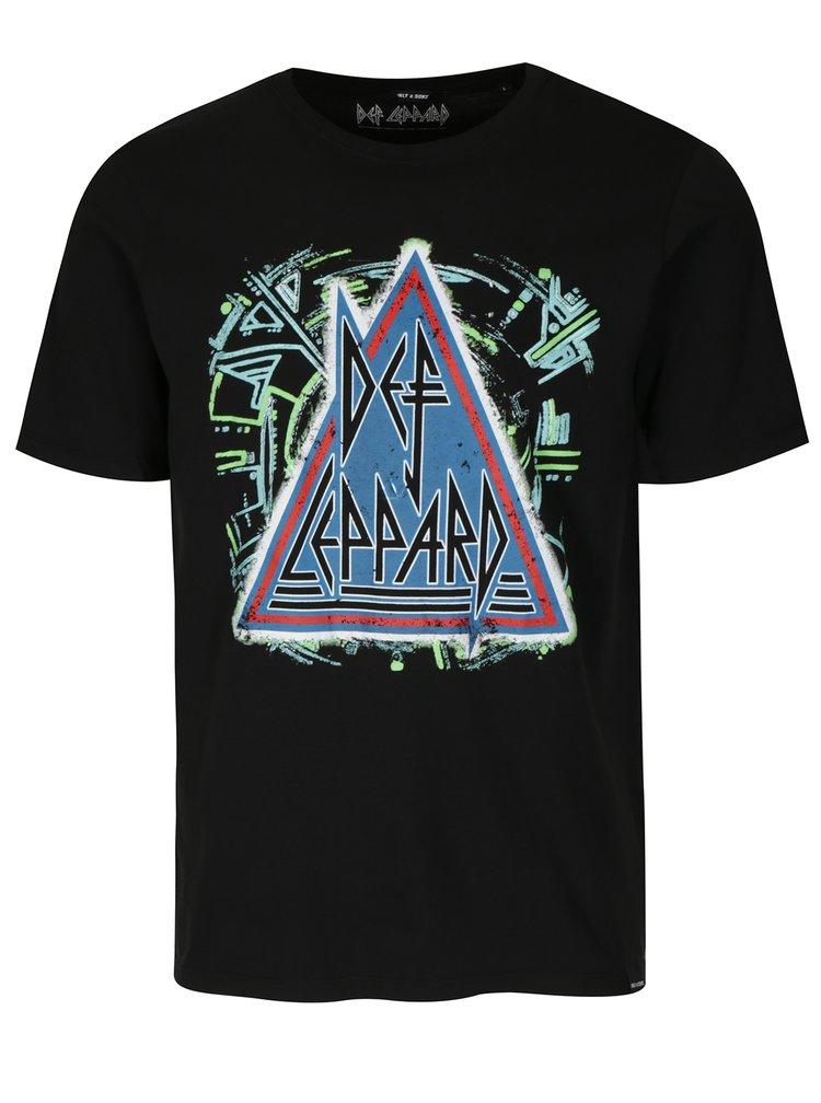 Tricou negru cu print rock ONLY & SONS Def Leppard