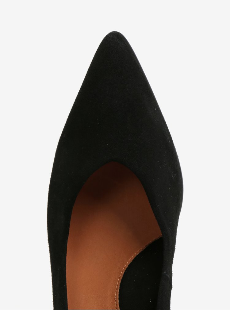 Černé semišové lodičky do špičky Selected Femme Falex