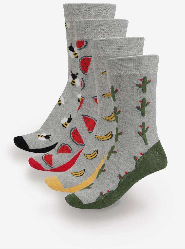 Sada čtyř párů šedých vzorovaných ponožek Jack & Jones Fun