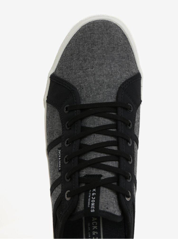 Černo-šedé pánské žíhané tenisky Jack & Jones Ross