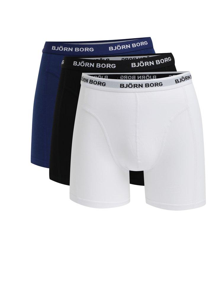 Súprava troch boxeriek v bielej, modrej a čiernej farbe Björn Borg