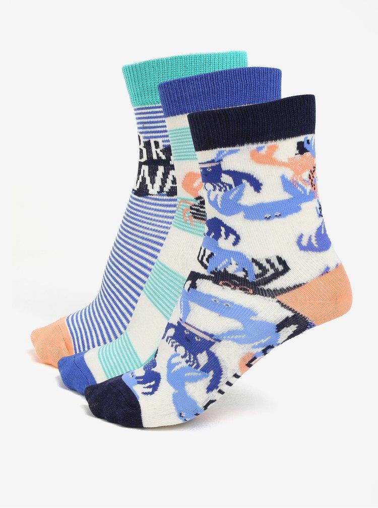 Sada tří párů klučičích ponožek s motivem kraba Tom Joule Brilliant