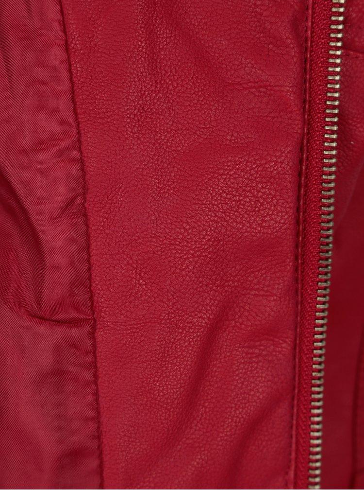Červená koženková bunda ONLY Steady