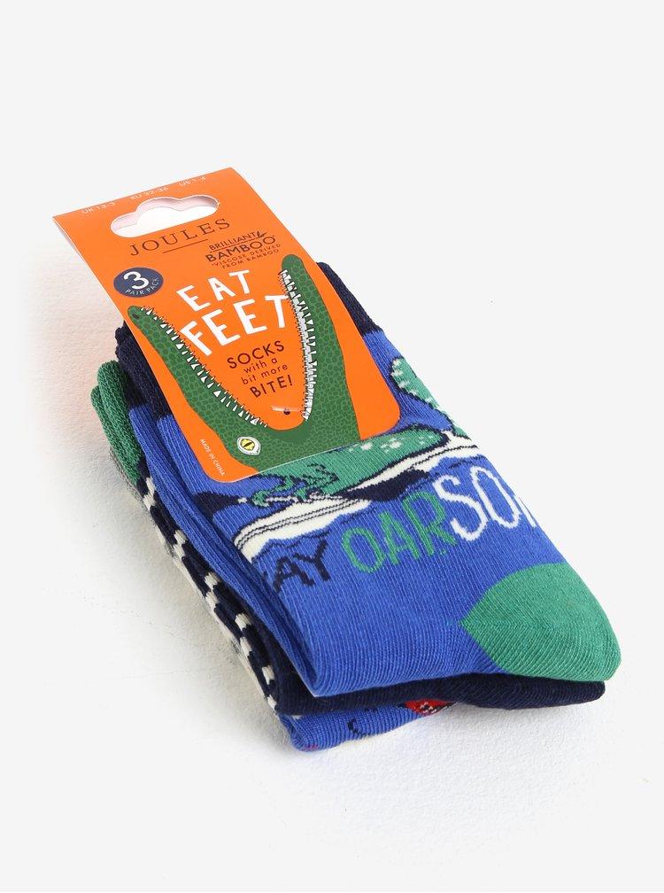 Sada tří párů klučičích ponožek s motivem dinosaura Tom Joule Brilliant