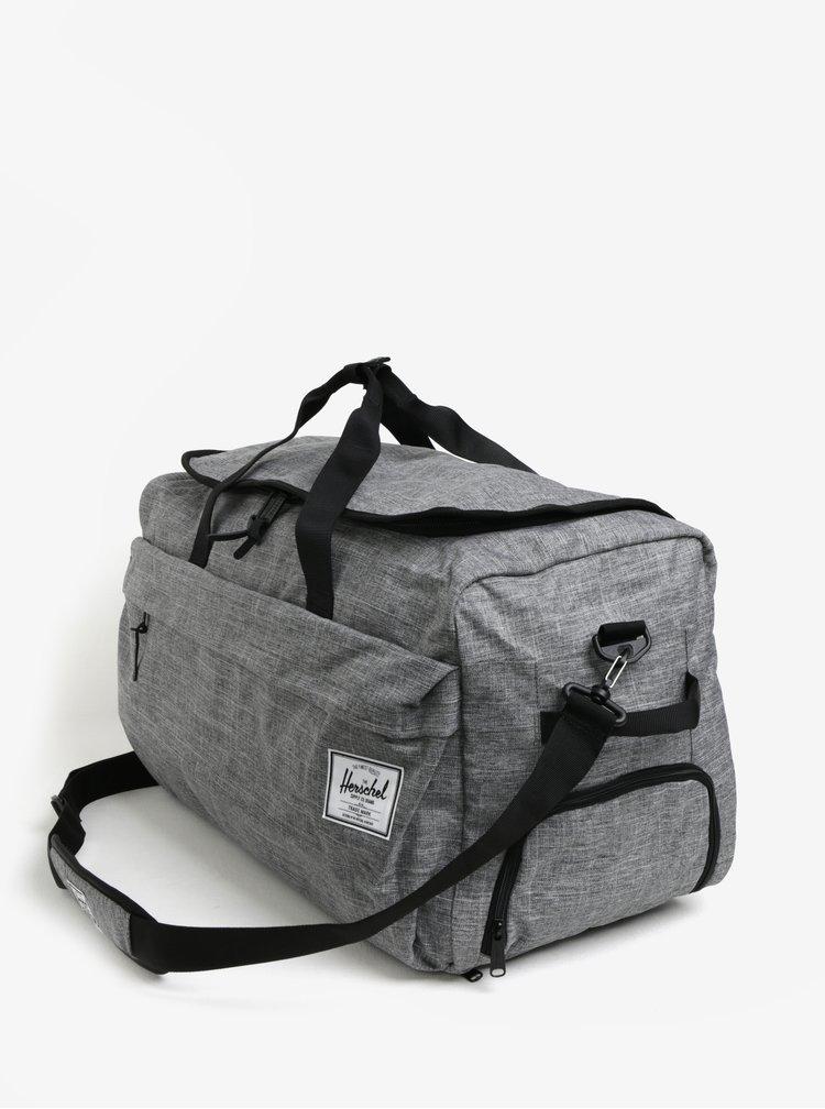 Šedá žíhaná cestovní taška s ramenními popruhy Herschel Outfitter 63 l
