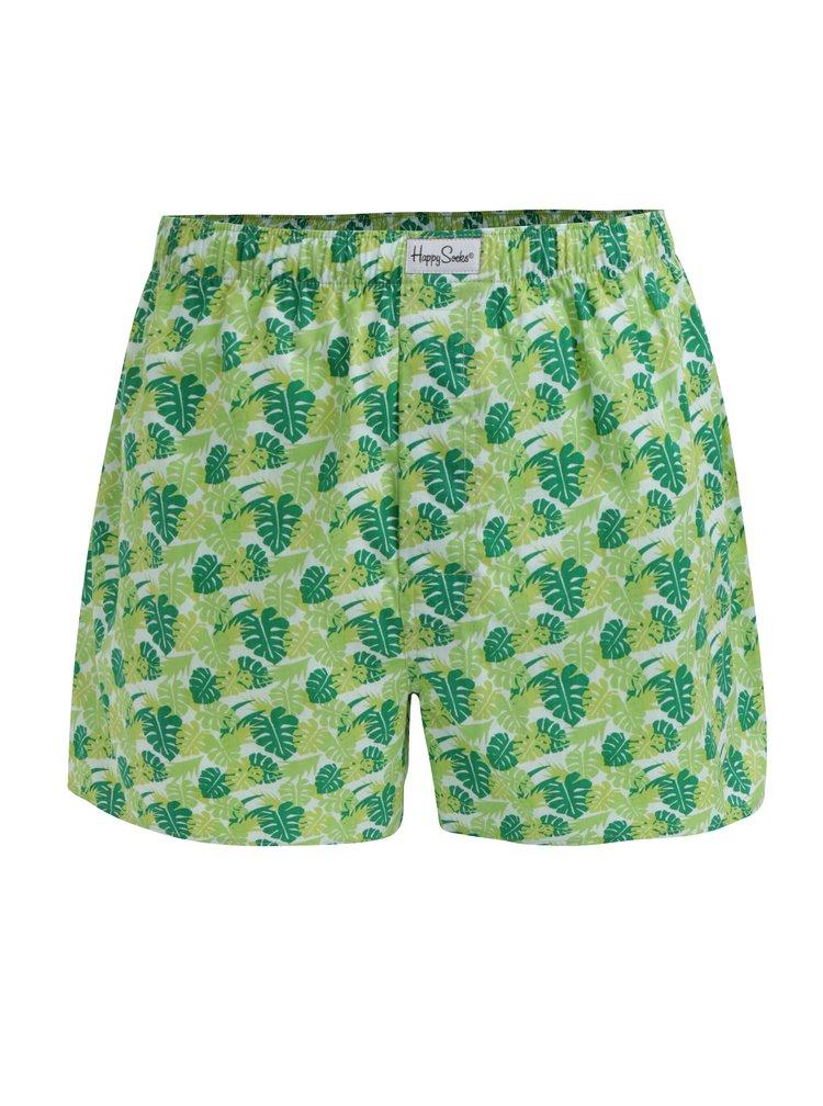 Zelené pánské trenýrky s potiskem listů Happy Socks Jungle