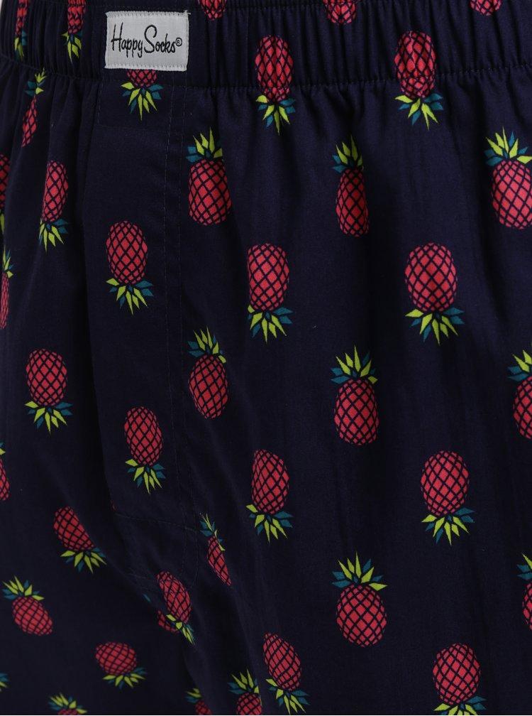 Tmavě modré trenýrky s potiskem ananasů Happy Socks Pineapple