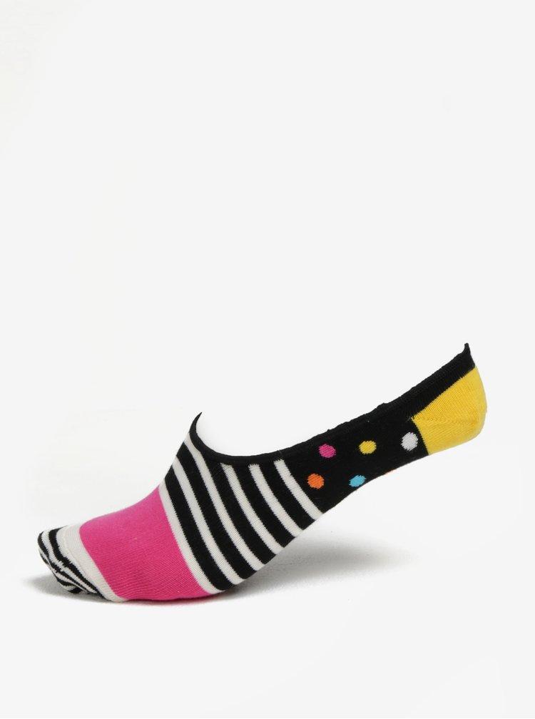 Černé dámské nízké ponožky Happy Socks Stripes Dots Liner