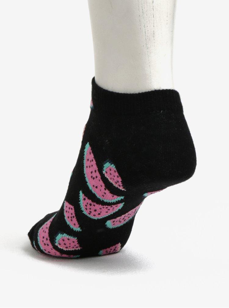 Černé dámské kotníkové ponožky s potiskem melounů Happy Socks Watermelon