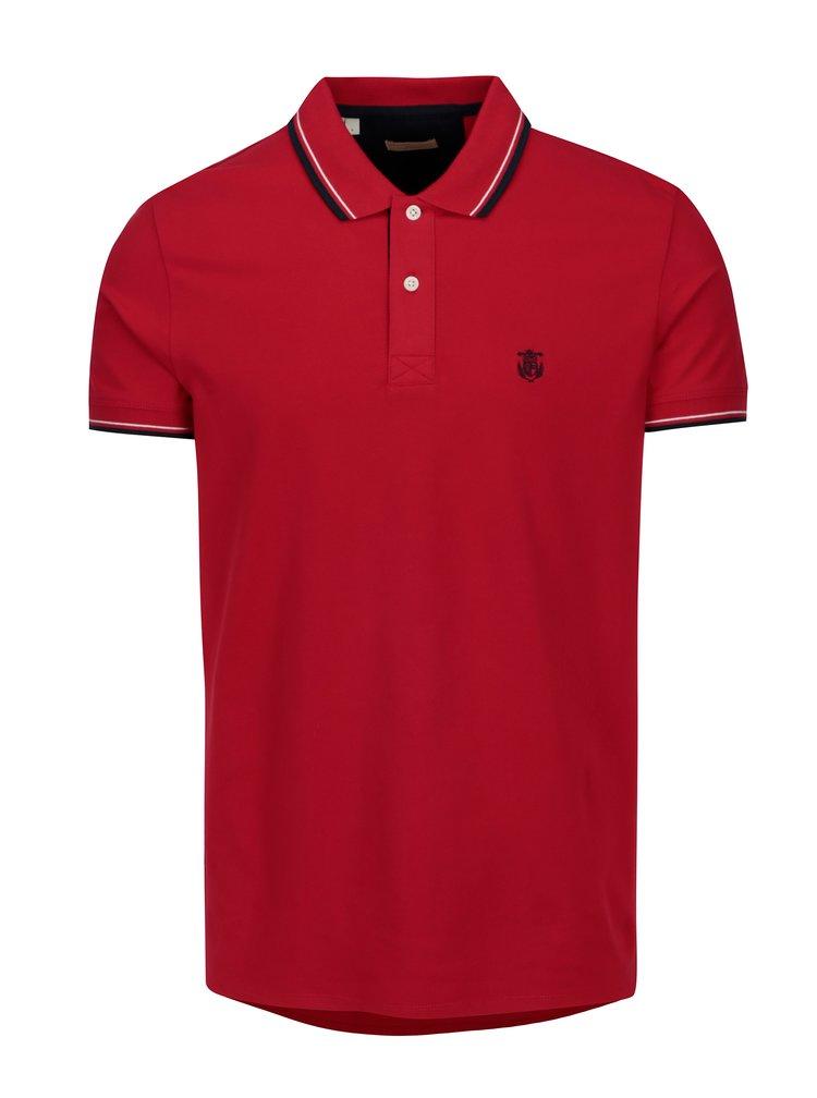 Červené polo tričko s výšivkou Selected Homme New Season