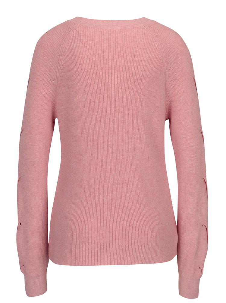 Růžový svetr s průstřihy na rukávech VILA Myntani