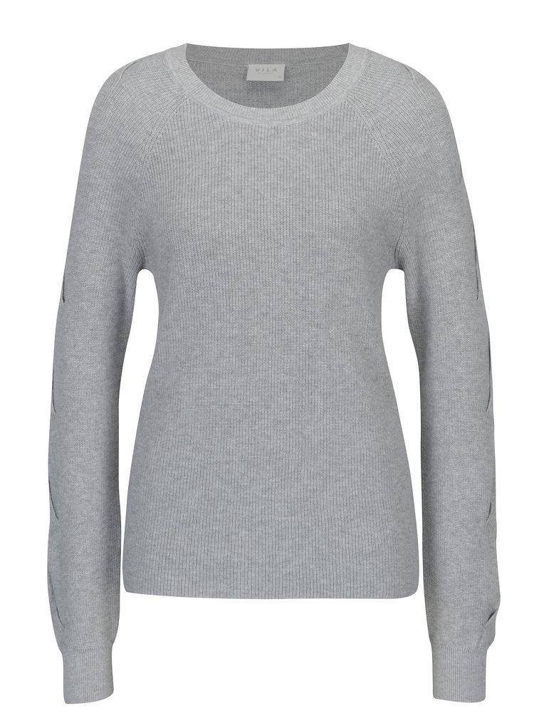 Šedý svetr s průstřihy na rukávech VILA Myntani
