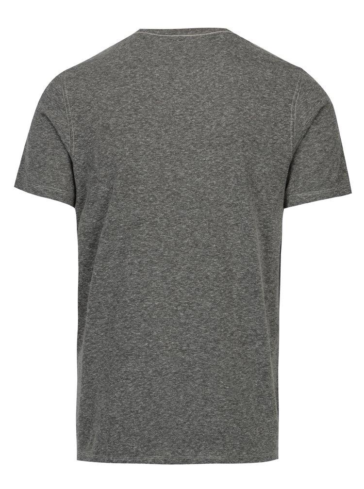 Šedé žíhané tričko s potiskem Jack & Jones Tokyo