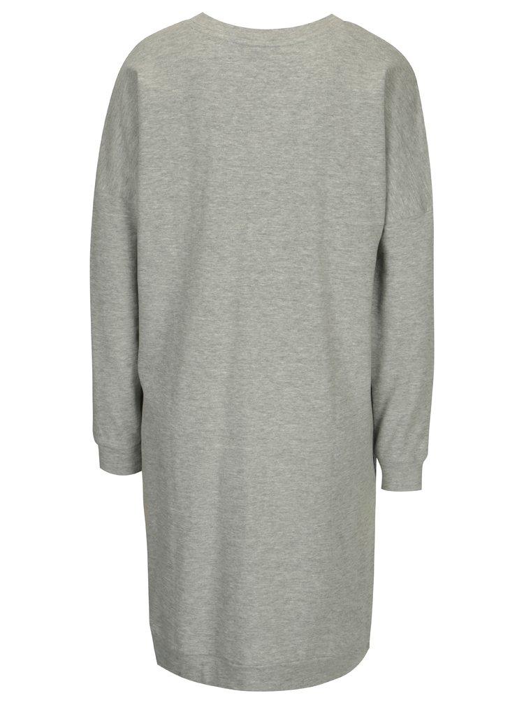Šedé žíhané mikinové šaty s potiskem Jacqueline de Yong Newton