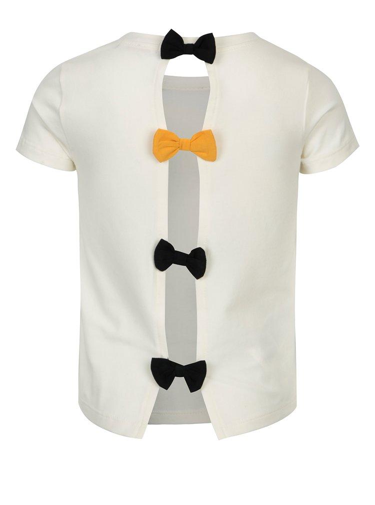 Krémové holčičí tričko s potiskem a mašlemi na zádech Bóboli
