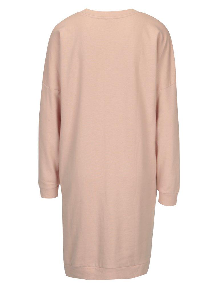 Starorůžové mikinové šaty s potiskem Jacqueline de Yong Newton