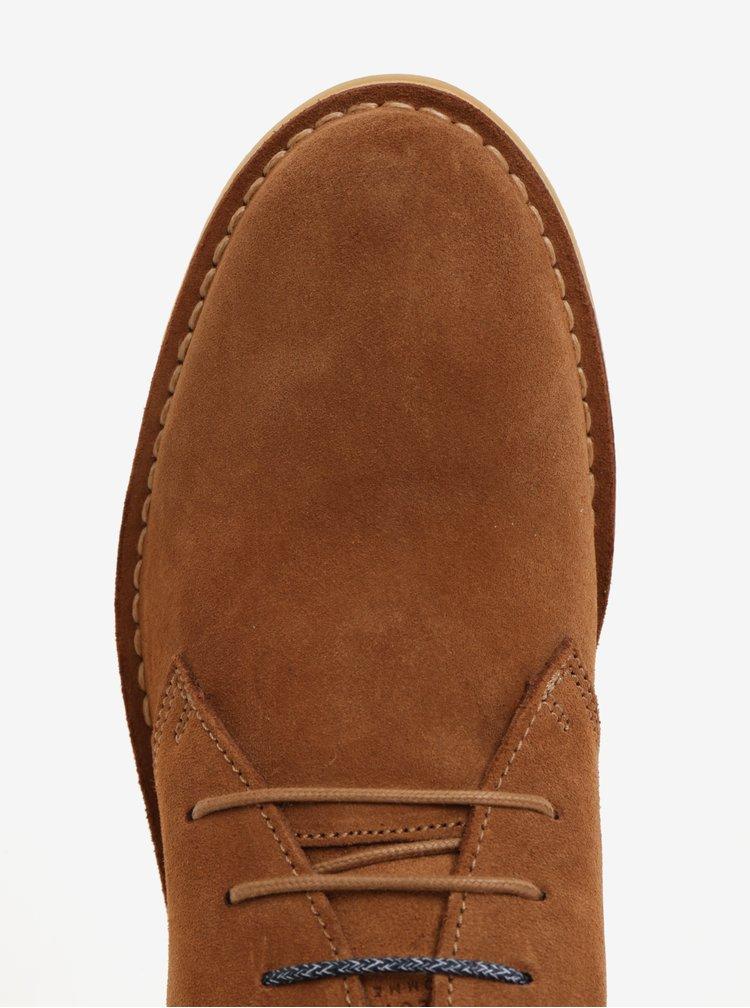 Světle hnědé semišové kotníkové boty Selected Homme Royce